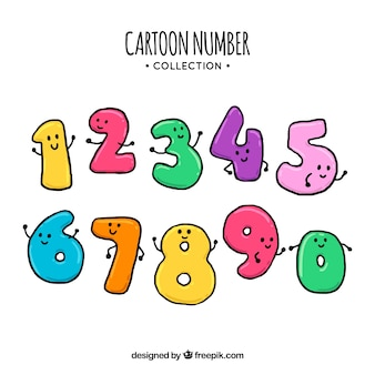 Cartoon number collection with characters