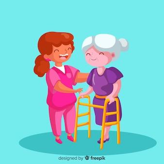 Cartoon nurse taking care of patient