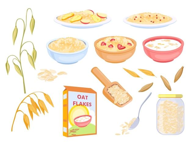 만화 오트밀 아침 시리얼, 달콤한 플레이크 및 곡물. 귀리 식물과 씨앗. 그릇에 과일과 함께 죽입니다. 건강에 좋은 그래놀라 음식 벡터 세트입니다. 아침 오트밀, 건강한 죽 식사의 그림