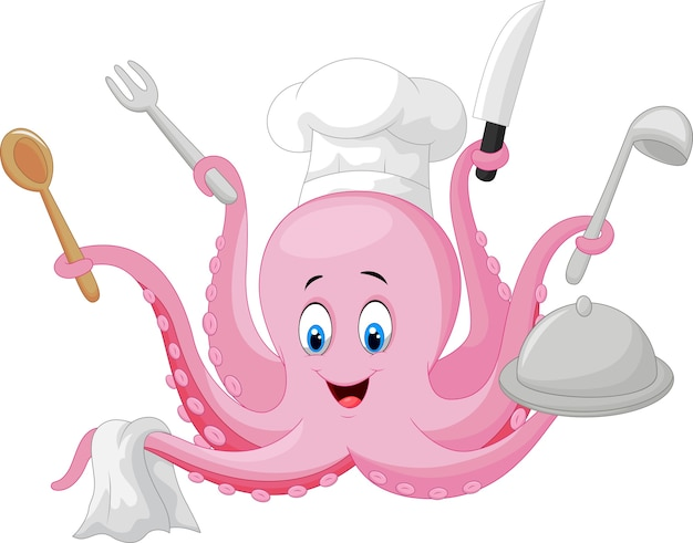 Cartoon octopus chef holding cooking tools