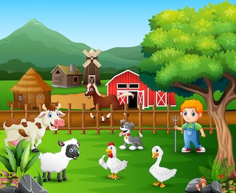 Cartoon of a farmer at his farm with a bunch of farm animals