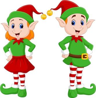 幸せなクリスマスエルフのカップルの漫画