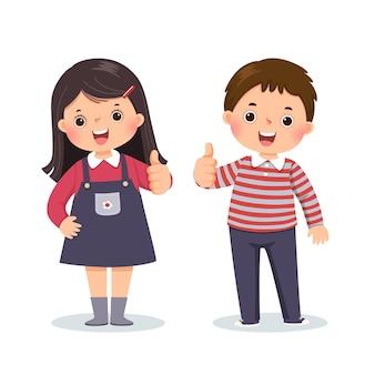 Мультфильм маленького мальчика и девочки показывает палец вверх с веселым выражением лица.