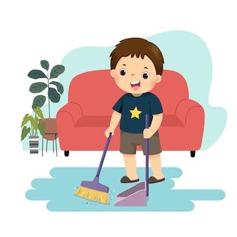 床を掃除する小さな男の子の漫画。家のコンセプトで家事の雑用をしている子供たち。