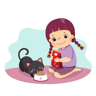 Мультфильм маленькая девочка кормит ее кошку дома. дети делают работу по дому в домашней концепции.