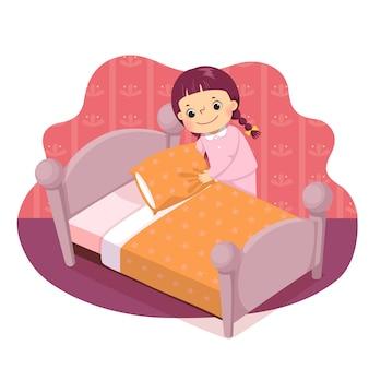 Мультфильм маленькая девочка заправляет кровать. дети делают работу по дому в домашней концепции.