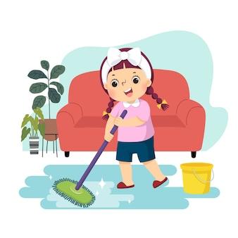 Мультфильм маленькая девочка, мыть пол. дети делают работу по дому в домашней концепции.