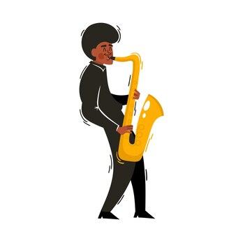 アフリカのジャズ、白で隔離のサックスとソウルミュージシャンの漫画