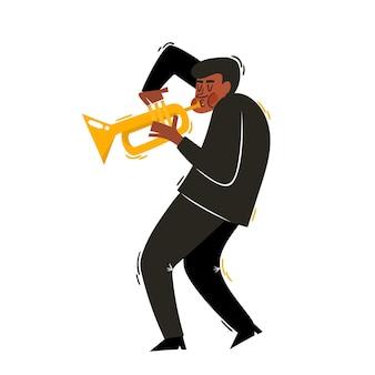 アフリカのジャズ、白で隔離トランペットとソウルミュージシャンの漫画