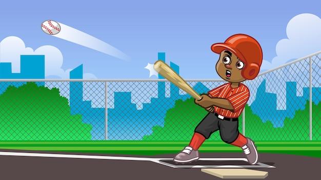 Мультфильм черный мальчик бейсболист бьет по мячу на поле