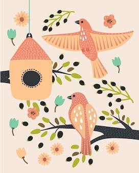 鳥の家のある枝の漫画