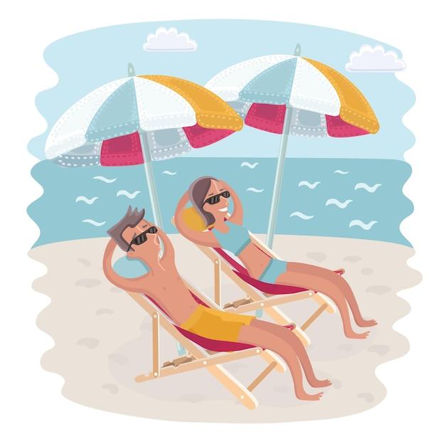 Мультфильм пара на пляже на шезлонге под зонтиками на берегу моря.