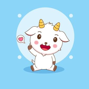 귀여운 행복한 염소 캐릭터의 만화