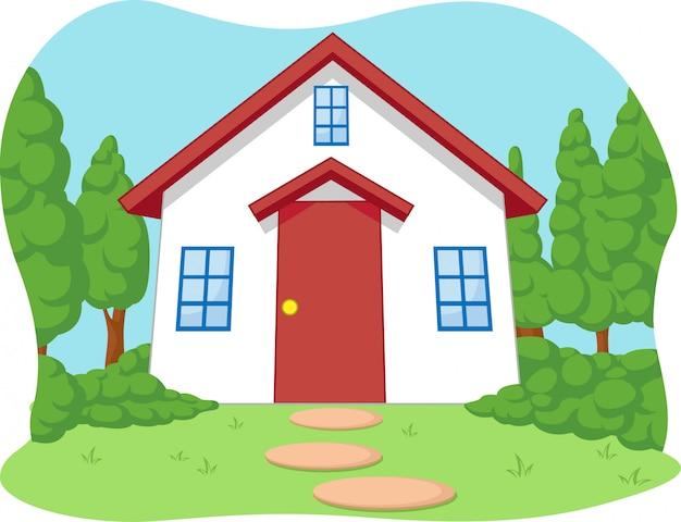 Мультфильм милый домик с садом