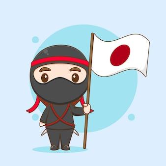 日本の国旗を保持しているかわいい忍者キャラクターの漫画 Premiumベクター