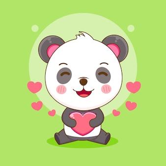 心の愛を保持しているかわいいパンダの漫画