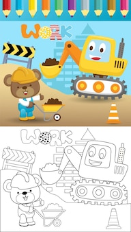 빌드 프로세스, 색칠하기 책 또는 페이지에서 작은 곰과 함께 재미있는 파는 사람의 만화