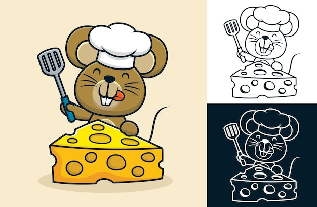 큰 치즈와 함께 주걱을 들고 요리사 모자를 쓰고 재미있는 쥐의 만화