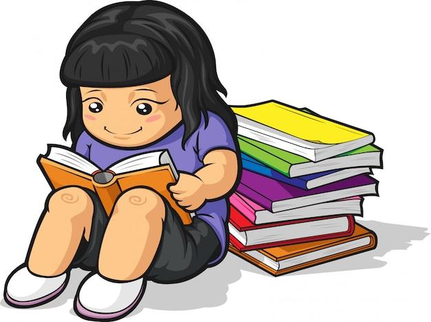 勉強して本を読んでいる女子学生の漫画