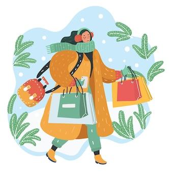 幸せな若い女性の漫画は、雪の降る冬の日の休日の買い物をします。