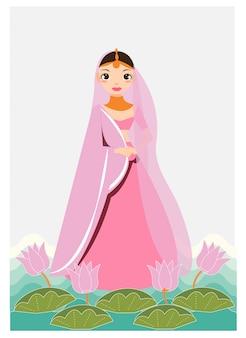 伝統的なドレスでインドの女の子の漫画は、蓮と葉で飾る