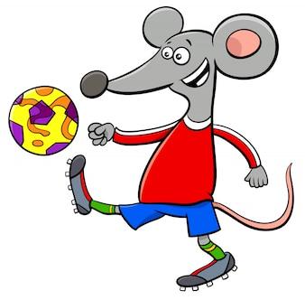 ボールとマウスサッカー選手のキャラクターの漫画