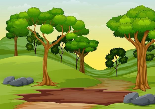 숲 길 중간에 진흙 웅덩이의 만화 프리미엄 벡터