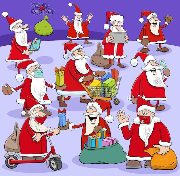 크리스마스 선물을 가진 산타 클로스 캐릭터 큰 그룹의 만화