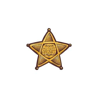 보안관 스타 쉴드 또는 고립 된 배지의 만화. 미국 경찰 대표, 대리인 또는 보안관의 황금 빈티지 상징.