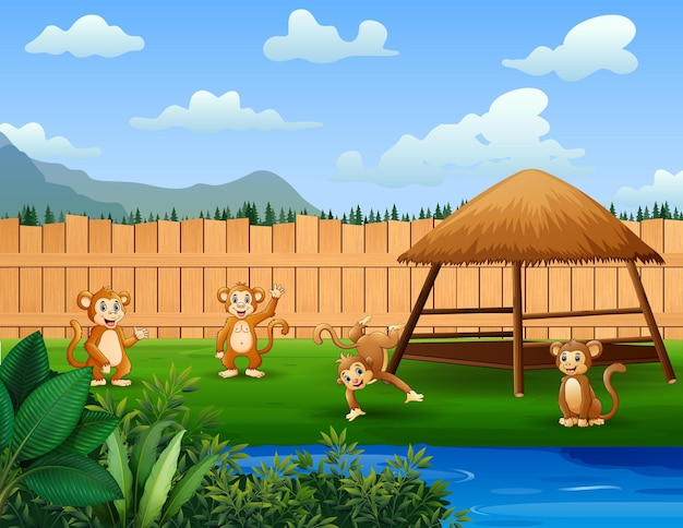 Мультфильм обезьян, играющих в парке