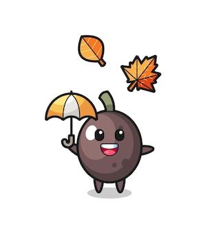 가을에 우산을 들고 있는 귀여운 검은 올리브의 만화, 티셔츠, 스티커, 로고 요소를 위한 귀여운 스타일 디자인
