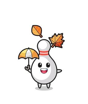 秋の傘を持っているかわいいボウリングピンの漫画、tシャツ、ステッカー、ロゴ要素のかわいいスタイルのデザイン