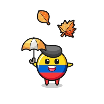 秋の傘を保持しているかわいいコロンビアの旗バッジの漫画、tシャツ、ステッカー、ロゴ要素のかわいいスタイルのデザイン