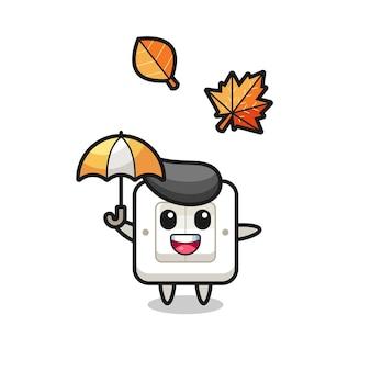 秋の傘を持っているかわいいライトスイッチの漫画、tシャツ、ステッカー、ロゴ要素のかわいいスタイルのデザイン