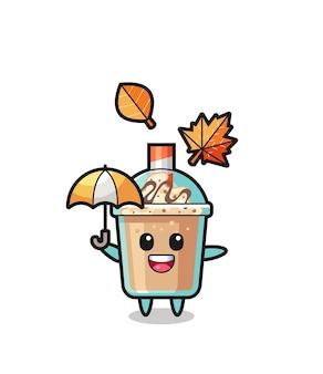 秋の傘を持っているかわいいミルクセーキの漫画、tシャツ、ステッカー、ロゴ要素のかわいいスタイルのデザイン
