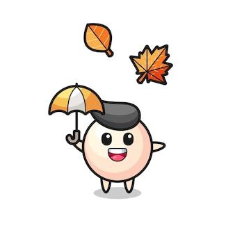 秋の傘を持っているかわいい真珠の漫画、tシャツ、ステッカー、ロゴ要素のかわいいスタイルのデザイン
