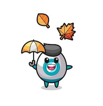 秋の傘を持っているかわいいロケットの漫画、tシャツ、ステッカー、ロゴ要素のかわいいスタイルのデザイン