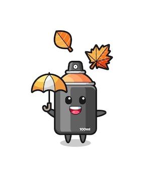 秋の傘を持っているかわいいスプレーペイントの漫画、tシャツ、ステッカー、ロゴ要素のかわいいスタイルのデザイン