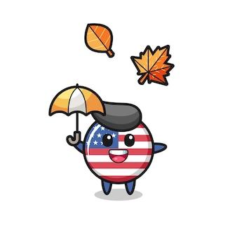 秋の傘を保持しているかわいい米国旗バッジの漫画、tシャツ、ステッカー、ロゴ要素のかわいいスタイルのデザイン
