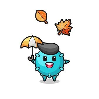 가을에 우산을 들고 있는 귀여운 바이러스의 만화, 티셔츠, 스티커, 로고 요소를 위한 귀여운 스타일 디자인