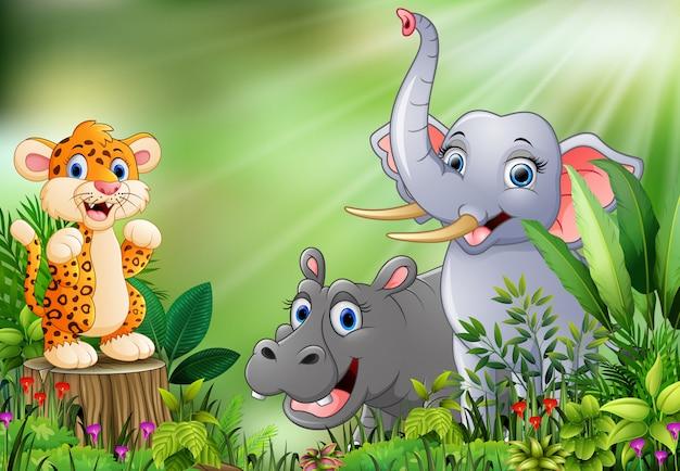 다른 동물들과 함께 자연 장면의 만화