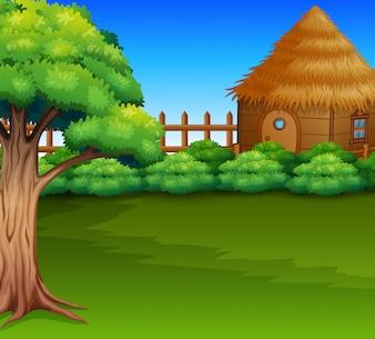 Cartoon of Wood cabin in a green field