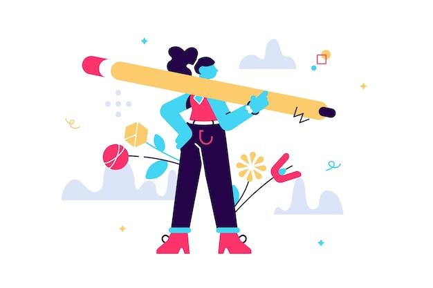 大きな鉛筆を持って、白い孤立した背景の上に立つ若い女性の漫画