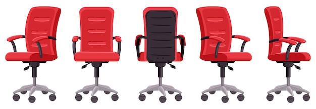 Cartoon office chair. computer chair in different angles, ergonomic office furniture element illustration