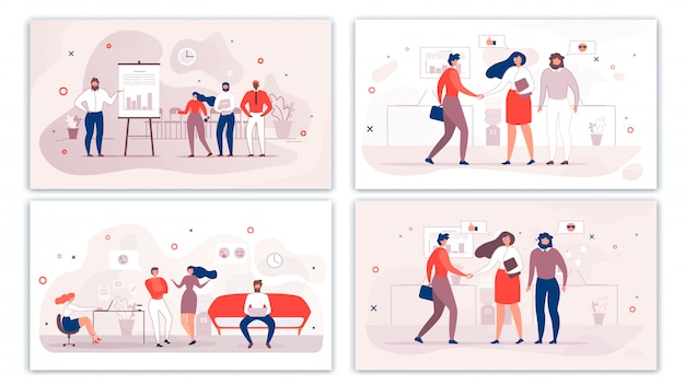Cartoon office people characters communication set