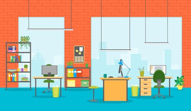 漫画のオフィスルームインテリアフラットスタイルデザインキャビネット用家具付き作業ペース