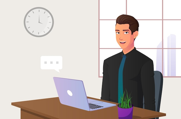Cartoon office worker sitting on chair with laptop on desk.