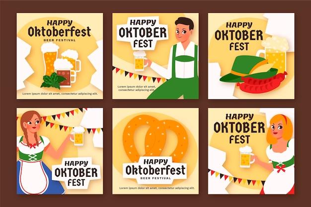 Cartoon oktoberfest instagram posts collection