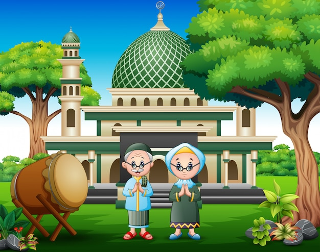 Cartoon old couple muslim in front the mosque