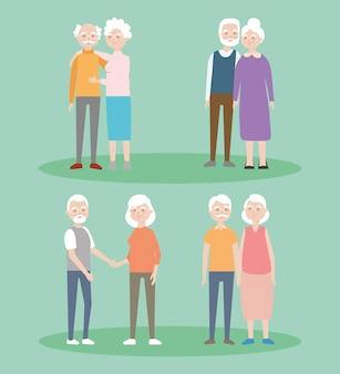 Набор иконок мультфильм старые пары